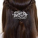 Viking Celtic Hair Barrettes for Women- Large Celtic Knot Hair Clip Viking Dragon Hair Sticks Viking Hairpin Norse Celtic Hair Jewelry Round Knot Irish steampunk Hair Accessories for Long Hair (F-G)