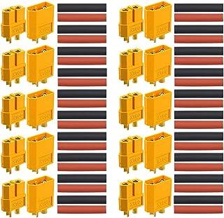 QitinDasen 10 Paare Premium XT 60 Männlich Weiblich Batterie Anschlüsse, Hochstrom Goldstecker Goldkontaktstecker Rundstecker Stecker Buchse, mit Schrumpfschlauch