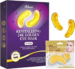 24K Gold Eye Mask Collagen,Under Eye Patches,Under Eye Mask for Dark Circles,Puffy Eyes Wrinkles,Anti Aging, Under Eye Bags Treatment Mask,Under Eye Gel Pads 16 Pairs