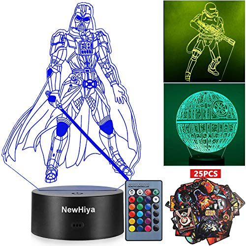 3D Star Wars Night Light, 16 Colors Changing Night Lights with Remote & Smart Touch, Christmas and Birthday Gifts for Kids and Any Star Wars Fans