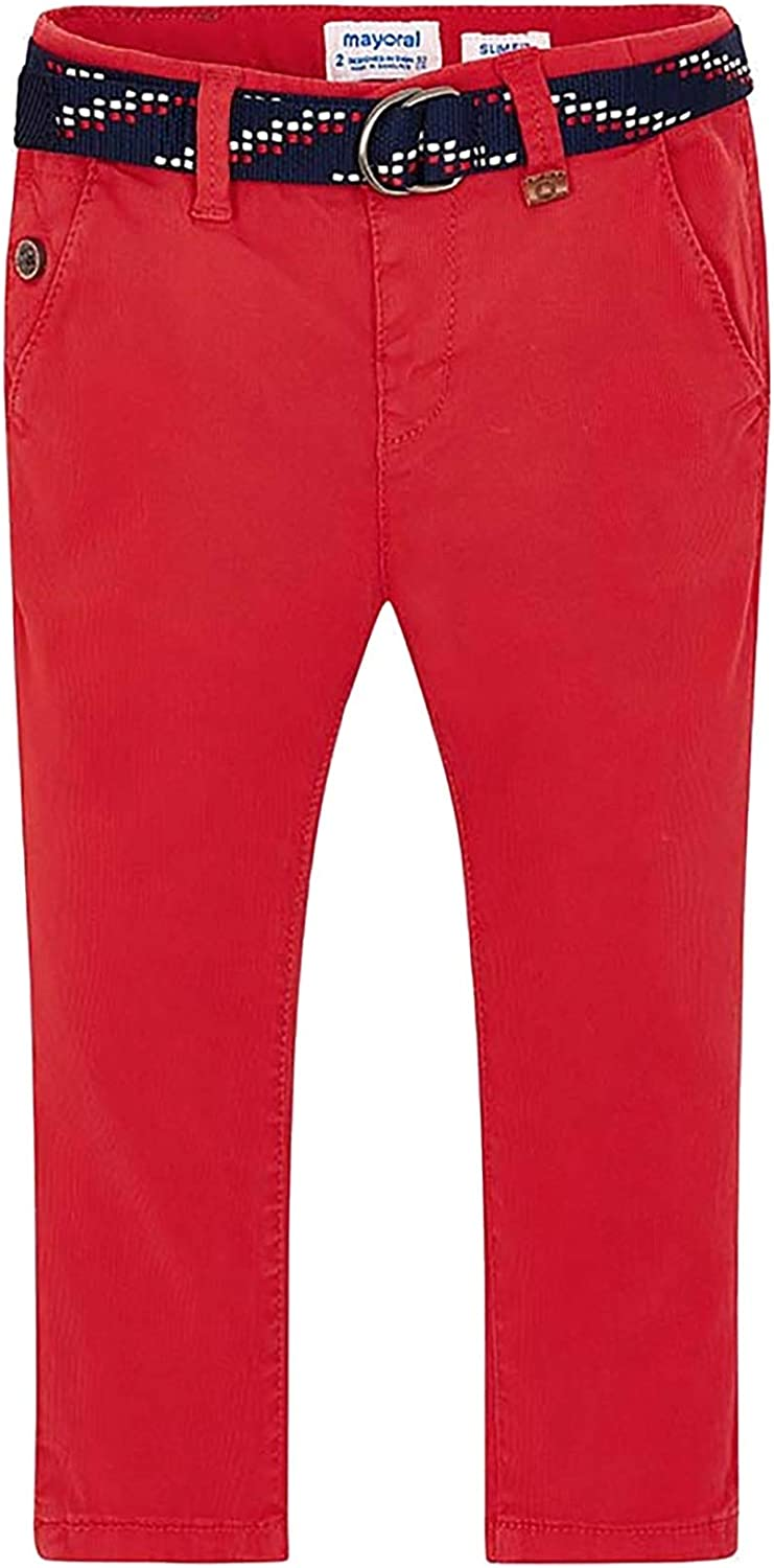 Mayoral - Chino Pant with Belt for Boys - 3516, Red