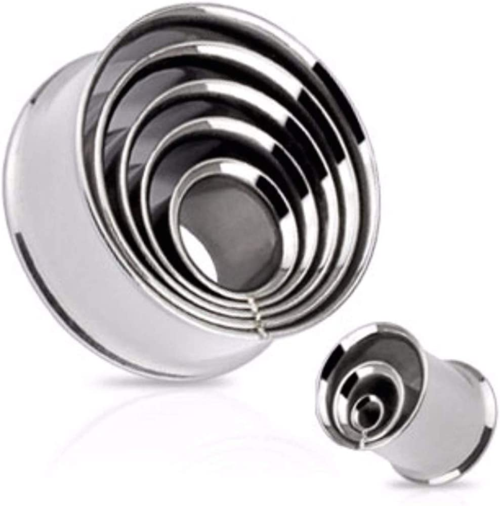 Covet Jewelry Metal Fused Layer of Rings Tunnel 316L Surgical Steel Double Flared Plug