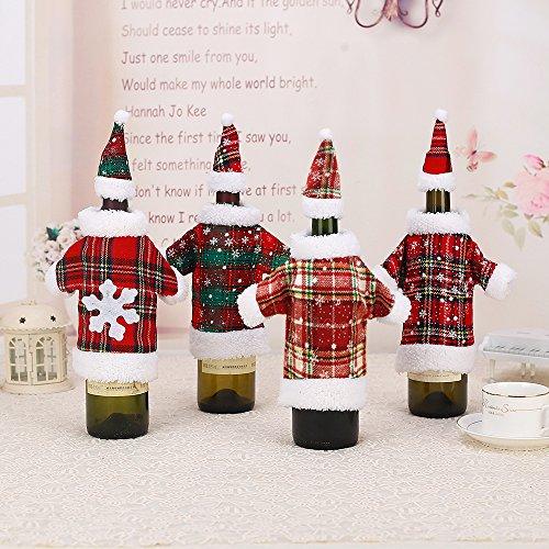 4 x Weihnachten Flaschentasche Flaschentüte Weinflasche für Wein Sekt-Flaschen Weihnachten Tischdeko