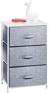 mDesign Vertical Dresser Storage Tower - Sturdy Steel Frame, Wood Top, Easy Pull Fabric Bins - Organizer Unit for Child/Ki...