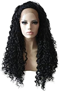 Chranto Fashion Black Long Curly Lace Front Full Wig Brazilian Human Hair Wave Wig