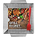 HomeMall Grill Basket for Meat & Vegetables - Large BBQ Grilling tray - Stainless Steel with High Sides - Bonus Basting Brush