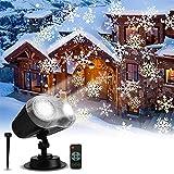 Klighten Luces de Proyector de Navidad de Halloween, IP65 Impermeable Lámpara Proyector Patrón de Tormenta de Nieve, Control Remoto, para Decoraciones de Fiestas como Navidad, Halloween, San Valentín