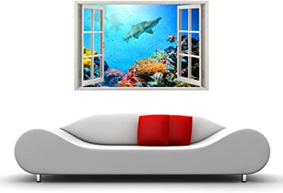 Paper Plane Design Vinyl Wall Window Sticker, 90 x 60 cm, Coral