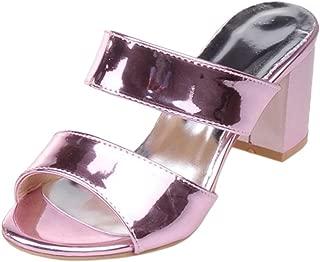 JOJONUNU Women Block Heel Mules Sandals