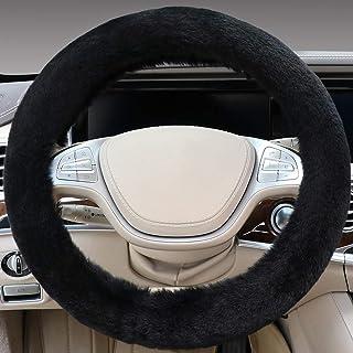 "SEG Direct Black Faux Wool Winter Warm Steering Wheel Cover Universal 14.5""-15.25"""