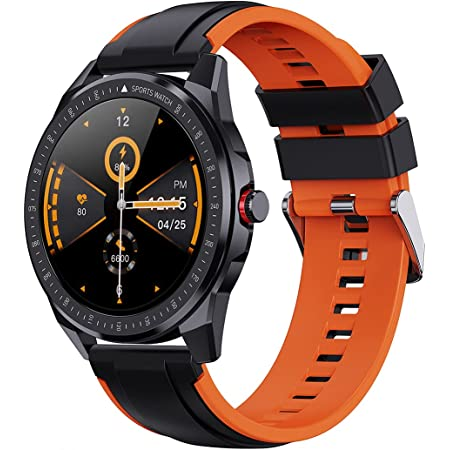 """FitSpark Ghost SpO2 Thinnest 1.3"""" Real Full Round IPS True Color HD Large Screen Smartwatch (Sporty Orange)"""