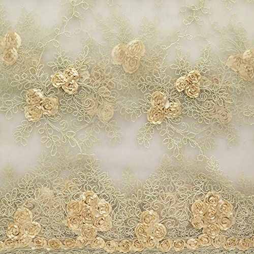 Corsage Lace Embroidered Roses on Mesh 54 Inch Wide Fabric by The Yard (F.E. (Champagne)