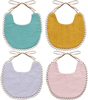 WIPALO Baby Bibs Cotton Absorbent Reversible Drooling Bibs Organic Cotton Toddler Bibs for Newborn Infant Toddlers Baby Girl Bibs for Drooling and Teething Bibs Baby Shower Gift