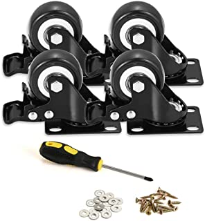 """BOSGEOT 2"""" Caster Wheels, Heavy Duty Casters with Brake Set of 4, Locking Casters with 360 Degree No Noise Polyurethane (PU) Wheels, Swivel Plate Castors Pack of 4"""