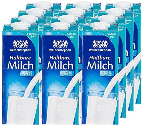 Weihenstephan Haltbare Milch Laktosefrei 1,5% , 12er Pack (12 x 1 l)