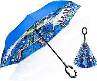 逆さ傘 傘 晴雨兼用 逆折り式傘 自立傘 長傘 手離れC型手元 耐風 撥水加工 ビジネス用 車用 日焼け対策 UVカット 傘袋/ケース付き