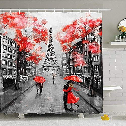 Hotyle Conjunto de Cortina de Ducha con Ganchos 120X180Cm Pintura al óleo Francesa París Pastel Europeo Ciudad Calle Obra Paisaje Impresionante Torre Monumentos históricos