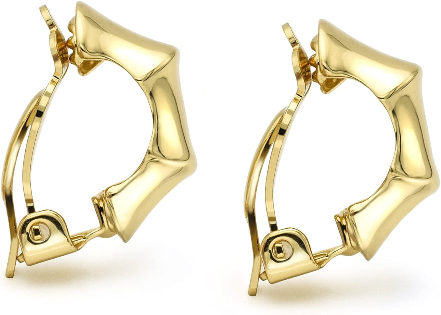 Bamboo Clip On Earrings Gold Plated Polished Half-Hoop Women Fashion