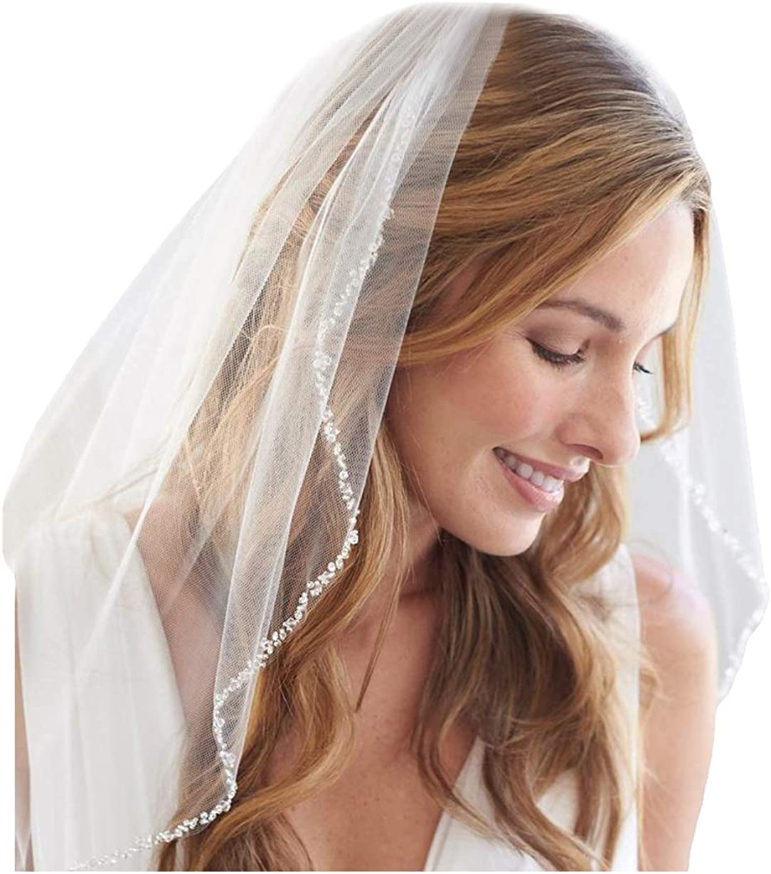 Fenghuavip Wedding Veil Fingertip Length Rhinestones Edge 1 Tier for Bride with Comb