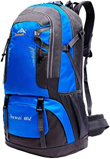 Mochila de 60 litros para Senderismo Marcha de Montaña Trekking Camping Deporte al Aire Libre ergonómica Azul