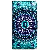 iPhone 6s Plus Case, iPhone 6s Plus Case, iPhone 6 Plus Case, Bcov Green Mandala Design Wallet Leather Cover Case for iPhone 6 Plus/6S Plus