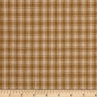 Textile Creations Light Brown Rustic Woven Plaid Fabric by The Yard
