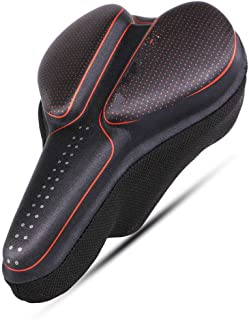 Oversized Comfort Bike Seat, Comfortable Extra Wide Soft Foam Padded Bicycle Saddle Cover Men Women Road Cycle Soft Bike S...
