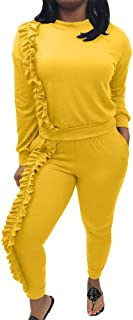 Women's Casual Outfits Ruffle Sleeve Shirt + Long Pants Set Sweatsuits Tracksuits Jumpsuit
