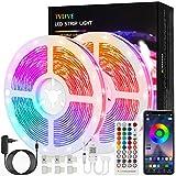 Tiras LED 15M, TVLIVE Bluetooth Luces LED Música RGB 5050, Control por APP o Control Remoto de 40 Teclas, 16 Millones Colores, Luz Led Adhesiva para Habitación, Fiestas, Bares, Cocinas, Escaleras