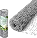 Amagabeli 0.5Mx25M Grillage à Poule 13mm Galvanisé Maille Hexagonal Cloture poulailler voliere Poulailler Jardin Grillage Grillage Triple Torsion Élevage Volaille Filet résistant aux Intempéries HC06