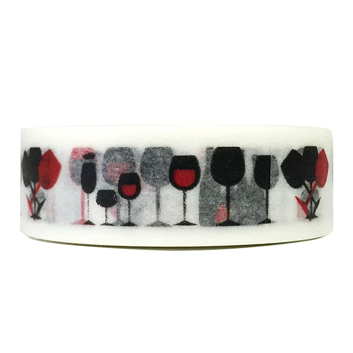 Wrapables Colorful Patterns Washi Masking Tape, Wine Glass
