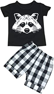 Weixinbuy Girls' Little Fox T-shirt Tops + Plaid Stripe Shorts Pants Outfits Set