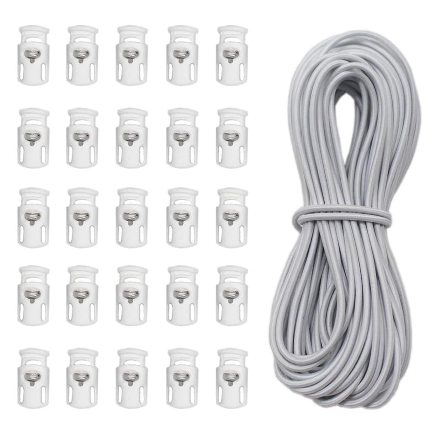 YaHoGa 25 pcs Cord Locks Spring Toggle Stopper + 10 Yards 1/8 Inch Cord Stretch String for Drawstring, Shoelaces, Clothing, Backpack, Bags (White)