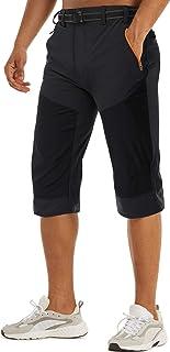 TACVASEN Men's Cargo 3/4 Long Shorts Quick Dry Below Knee Capri Slim FIit Pants Zipper Pockets