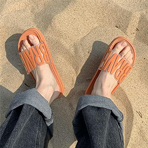 ypyrhh Hombres Verano Flip-Flop Sandalias,Zapatillas de baño de Pareja, Arena de Verano Interior-Naranja_40-41,Sandalias con DISEÑO Casual