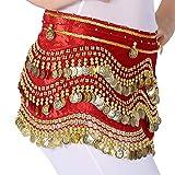 Mujer Cinturón Danza Del Vientre Moneda Lentejuelas Practica Rendimiento Falda Rojo One Size