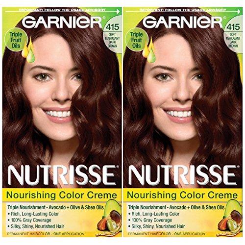 Garnier Hair Color Nutrisse Nourishing Creme, 415 Soft Mahogany Dark Brown (Raspberry Truffle), 2 Count