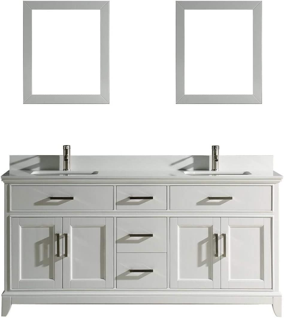 Vanity Art 200 Inches Double Sinks Bathroom Vanity Set White Super Phoenix  Stone Top 200 Dove Tailed Drawers 20 Shelves Undermount Rectangle Sink Cabinet  ...