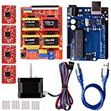 Quimat CNC Kit Compatibile con ArduiIDE con Stepping Motor,CNC Shield V3.0 + R3 + 4 PCS A4988 Driver + Nema 17 Stepping Motor for 3D Printer CNC,GRBL Compatible