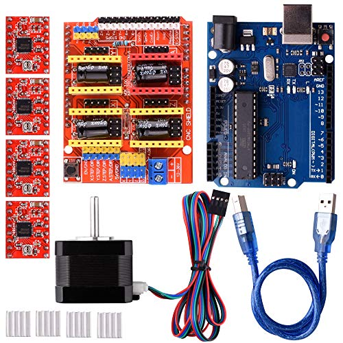 Quimat CNC-Aruin Kit para Impresora 3D, CNC Shield V3.0 + R3 + 4 PCS A4988 Controlador + Nema 17 Motor Paso a Paso, GRBL Compatible