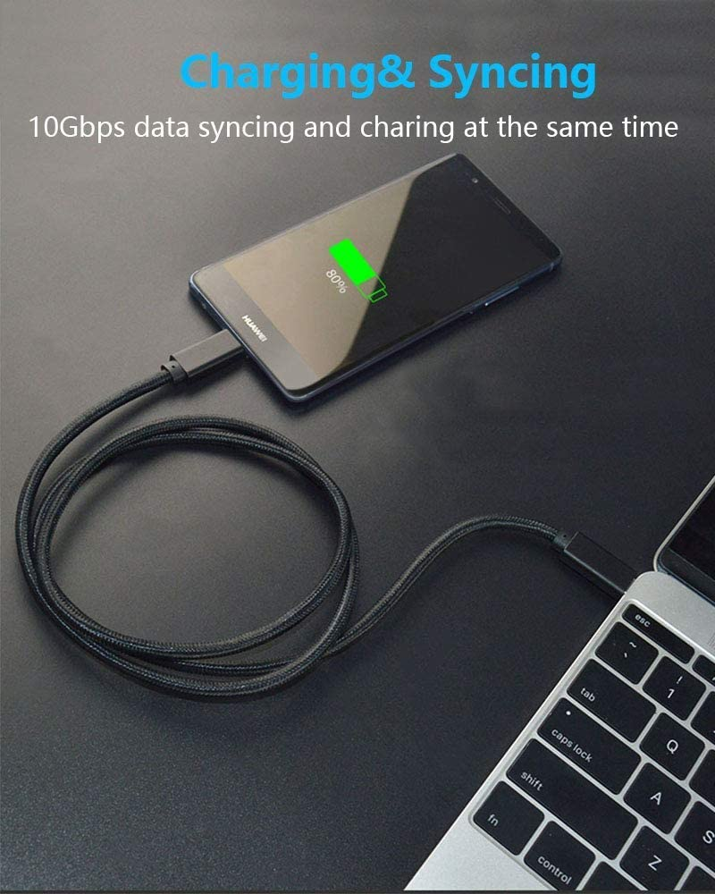 Cuxnoo 4K USB Type-C Monitor Cable Support 100W Fast Charge and 10Gbps Data Syncing White USB C-C Video Cable 6.6ft