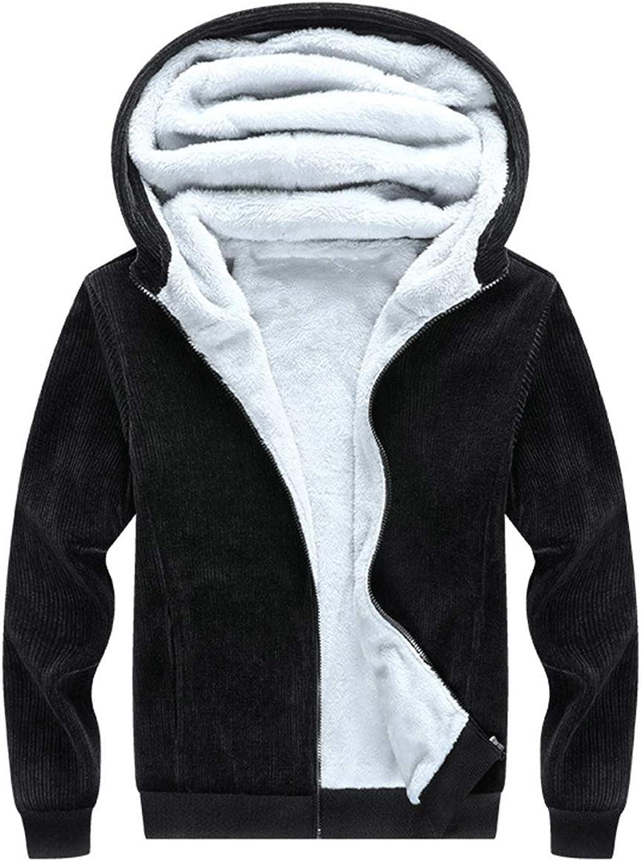Haellun Men's Corduroy Fleece Sherpa Lined Full Zip Hoodies Sweatshirt Jacket
