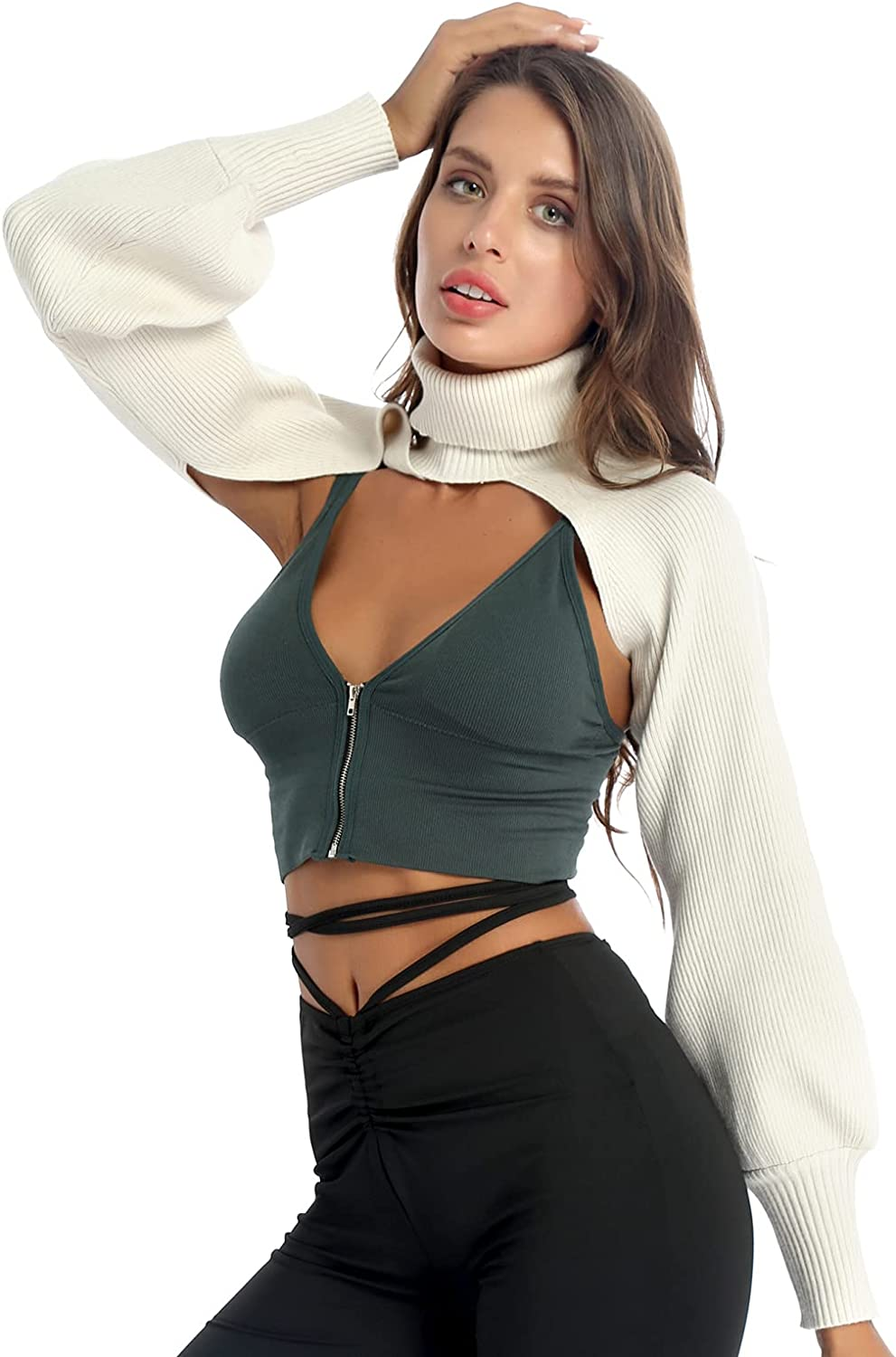 CHICTRY Women Mock Neck Long Puff Sleeve Cut Out Knitted Shrug Cardigan Sexy Hollow Open Front Crop Tops Streetwear