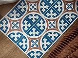 Desconocido Alfombra Vinílica con Estampado Hidraúlico LERONA   Alfombra PVC Antideslizante Cocina Salón y Pasillo Manteles Individuales (205x60 cm, LERONA Tostado)