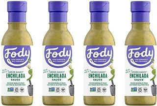 Fody Foods Vegan Green Enchilada Sauce Marinade Pack   Tomatillo Avocado Oil   Low FODMAP Certified   Gut Friendly No Onion No Garlic No MSG   IBS Friendly   Gluten Lactose Free   4 Bottles, 8 Ounce
