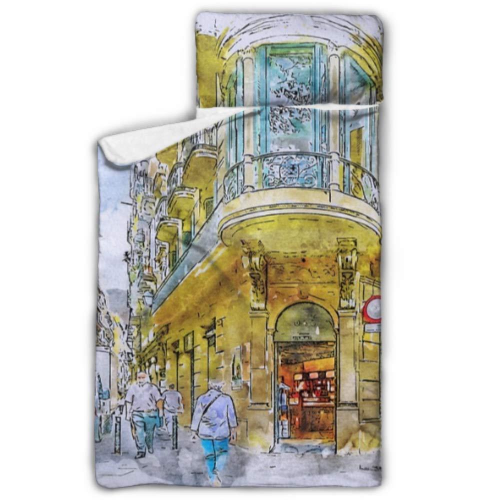 WYYWCY Barcelona Street, Barrio Gótico, España, Arquitectura, Guardería, Cunas, Colchoneta para Niños, Manta y Almohada, Diseño Rollup, Ideal para Preescolares, Guarderías, Fiestas de 50