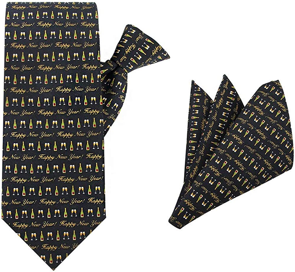 Jacob Alexander Men's Happy New Year Champagne Bottle Glasses Toast Clip-On Neck Tie and Pocket Square Set