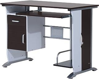 HOMCOM Bureau Informatique Design 100L x 52l x 75h cm Brun Noir et Blanc