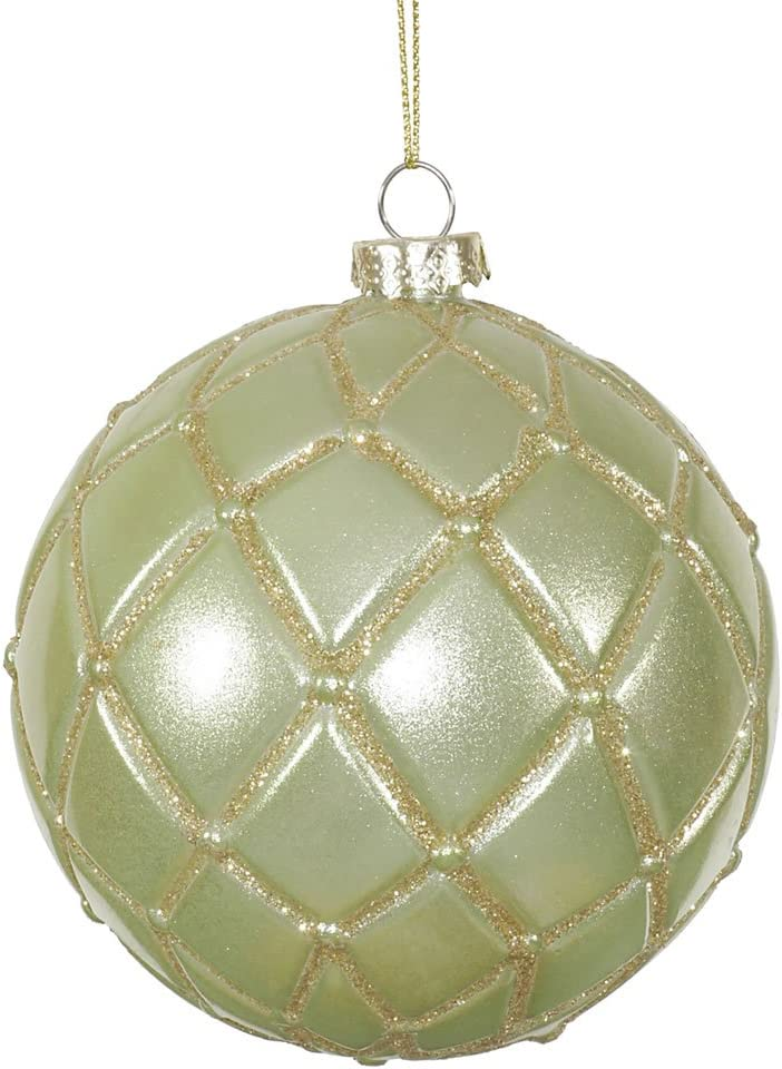 Vickerman Candy Glitter Net Ball Ornaments 4 Inch Celadon 6 Pack Home Kitchen