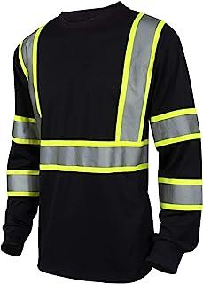 L&M Hi Vis Class 3 T Shirt Reflective Safety Black Long Sleeve HIGH Visibility 39